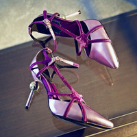 Summer Leather Metal High Heel Pointed Toe Shoes [4920624836]