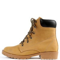 Almond Toe Lace Up Lug Sole Combat Boots