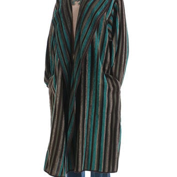 "Velvet Duster Jacket Oversized Cardigan Coat Vintage Clothing Women's One Size Fits All / Teal Blue Brown Long Draped Boho Plus Size 56""Bust"