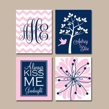 NAVY PINK Nursery Wall Art, CANVAS or Prints, Baby Girl Nursery Art, Monogram Flower Tree Bird, Girl Bedroom, Kiss Me Goodnight, Set of 4