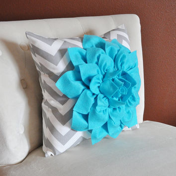 Turquoise Dahlia on Gray and White Zigzag Pillow -Chevron Pillow- Toss Pillow Modern Pillow