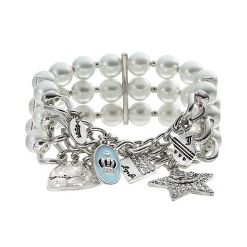 Juicy Couture Heart, Square, Oval, Crown & Shield Multirow Stretch Bracelet (White)