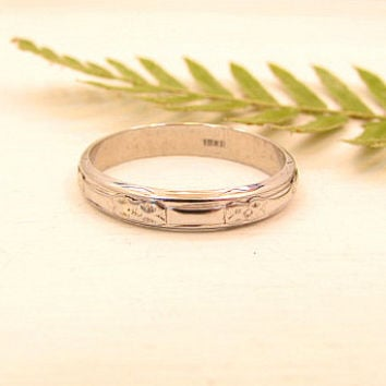 Art Deco Wedding Band, Mens or Large Women's Size Carved Eternity Wedding Ring, 18K White Gold, Size 10.5, Lovely Details, Circa 1930