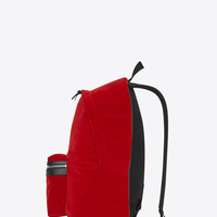 SAINT LAURENT CITY BACKPACK IN BLACK COTTON VELOUR, NYLON AND LEATHER | YSL.COM