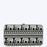Black Elephant Parade Hinged Wallet