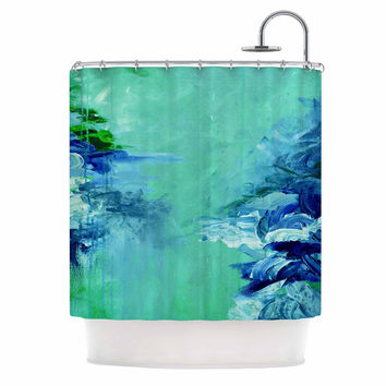 "Ebi Emporium ""Winter Dreamland 6"" Green Blue Shower Curtain"
