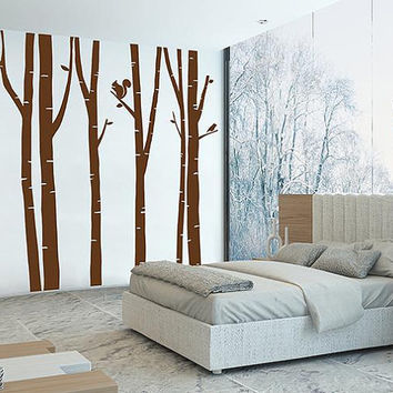 kik103 Wall Decal Sticker trees forest deer squirrel bird forest birch forest animals living room bedroom