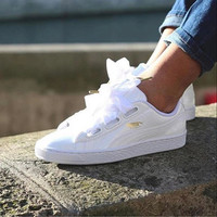 Puma Suede Basket Heart bow shoes flying angel White
