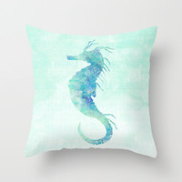 Seahorse Pillow Case, Nautical Home Decor, Beach Art, Nursery Art, Seahorse Pillow Cover, Decorative Pillow Case, Watercolor Seahorse