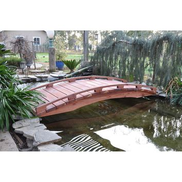 Asian Style Outdoor Functional 6-Ft Wooden Garden Bridge in Sealed Redwood