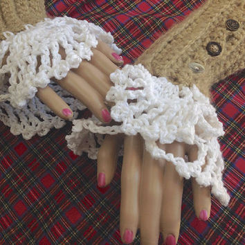 Claire Outlander Fingerless Gloves Cuffs Wristwarmer Cream Lace Lacy Mitts steampunk Victorian Texting Diana Gabaldon FREE SHIPPING
