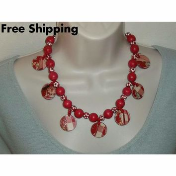 """Vintage Red & White Wooden Beaded Gingham Style Hand Crafted 22"""" Necklace"""