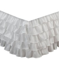 Greenland Home Fashions Multi-Ruffle Bed Skirt, White, Full