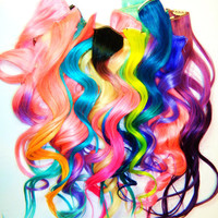 Custom Order YOU CHOOSE Hair Extensions, Ombre Hair Extensions, Human Hair Extension, Clip in Hair, Pastel
