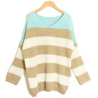 Green Striped Bat Long Sleeve Sweater S001054