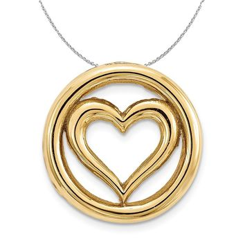 Gold-Tone Sterling Silver Stackable Small Heart Slide, 12mm Necklace