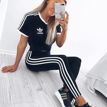 Adidas Three Stripe Boyfriend T-Shirt Three Stripe Leggings Sweatpants