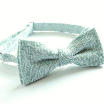 Mint, teal Linen pre tied adjustable Bow Tie-Boy's, Men's Bow tie-Matching Lady's Clutch and Men's 's/Boy's, Son-Father  Bow tie