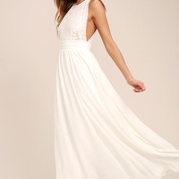 Forever and Always White Lace Maxi Dress