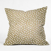 Elisabeth Fredriksson Little Hearts On Gold Throw Pillow