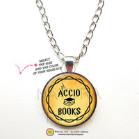 Accio books quote necklace-Accio books pendant-Accio books Jewelry-Harry Potter Jewelry necklace-Harry Potter necklace-NATURA PICTA NPNK047