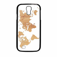 World Map On Wood Texture Print White Samsung Galaxy S4 Case