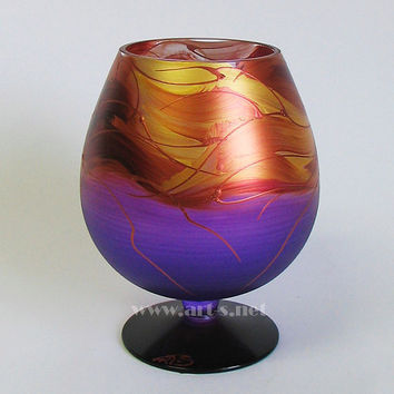 Purple Vase Decorative brandy glass Unique gift Hand painted vase Candle Holder Kitchen vase Candy Holder Wedding vase Purple glass vase
