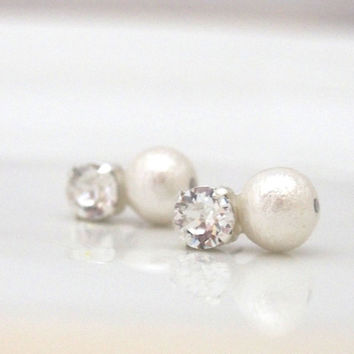 Icy: Cotton Pearl Earrings with Crystals, Titanium pins for Sensitive ears, Changeable to Magnet Earrings, Bridal and Bridesmaid earrings,