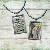"MARINE Girlfriend Wife Mom Pendant ""He's my Marine"""