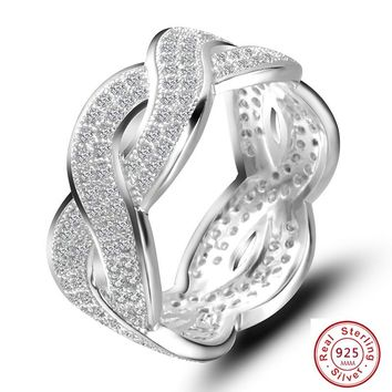 Luxury 925 Sterling silver Hollow Cross Rings for Women AAA CZ Crystal Female Jewelry Infinity Sign Lover Wedding Party ring