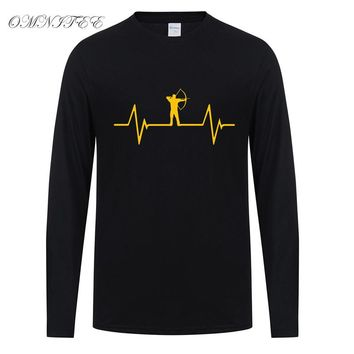 Omnitee Fashion Heartbeat of Archery T Shirt Tops Cotton O-neck Long Sleeve T-shirt New Casual Men Tops