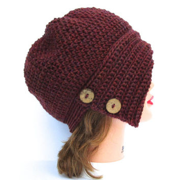 Spiced Wine Cloche - Crochet Hat With Buttons - 1920's Cloche Hat - Flapper Hat - Women's Cloche - Wool Hat - Winter Headwear