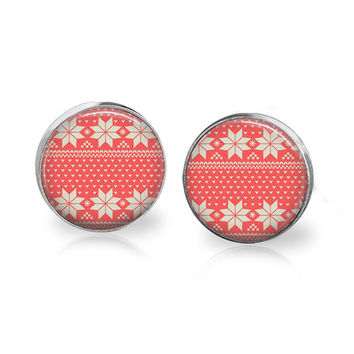 Red and White Christmas Sweater Print Earrings Poinsettia Pattern Glass Stud Christmas Earrings Ugly Sweater Party Vintage Sweater Print