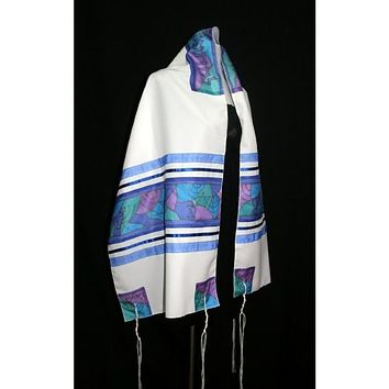 Abstract Blue Silk Tallit