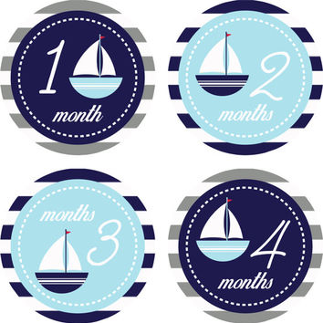 Monthly Baby Milestone Stickers Baby Boy Nautical Sailboat Shower Gift One-Piece Baby Stickers Monthly Baby Stickers Baby Month Sticker 14