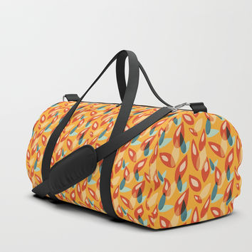 Orange Blue Yellow Abstract Autumn Leaves Pattern Duffle Bag by borianagiormova