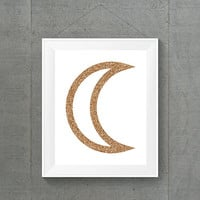 Rose Gold Glitter Moon, Space Decor, Rose Gold Decor, Moon Art, Girly Space Art, Galaxy Decor