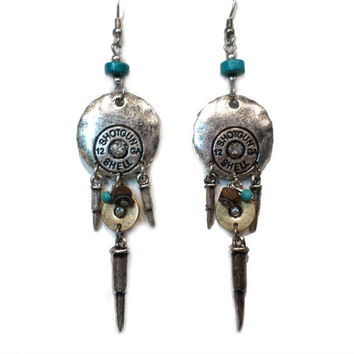 Tribal Silver, Gold, and Turquoise Rhinestone Round 12GA Shotgun Shell Bullet Dangle Earrings - Boho Silver and Gold Bullet Dangle Earrings