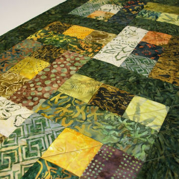 Batik Table Runner Tonga Lemongrass Green Yellow Handmade Quilted Ready to Ship One of a Kind