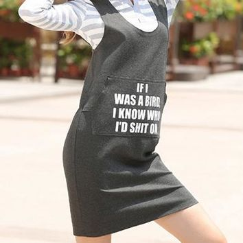 Gray Dungaree Look Dress - Rounded Neckline / Writing On Chest