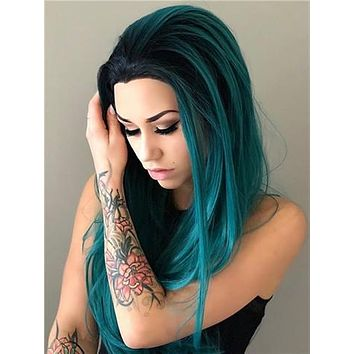 Long Black To Dark Green Cosplay Ombre Synthetic Lace Front Wig