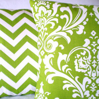 Pillows Decorative Pillows Accent Pillows Throw Pillow Cushion Covers Lime Green White Damask Zig Zag Chevron BOTH SIDES - Combo Set 16 x 16