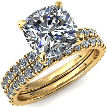Alessi Cushion Moissanite 4 Claw Prong Engagement Ring