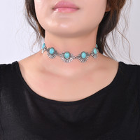 2016 New Hot Boho Collar Choker Silver Necklace jewelry for women Fashion Ethnic style Bohemian Turquoise Beads neck whole sale