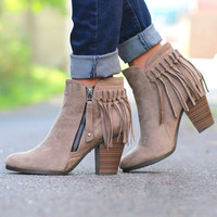 Fringe Booties - Taupe