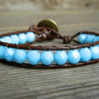 Beaded Leather Single Wrap Stackable Bracelet with Sky Blue Baby Blue Czech Glass Beads on Brown Leather