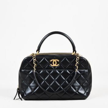 "Chanel Black Quilted Lambskin Leather ""Small Trendy"" Shoulder Bag"