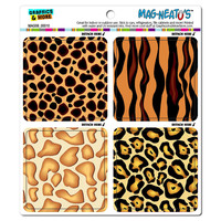 Wild Animal Prints - Tiger Jaguar Giraffe Cheetah MAG-NEATO'S TM Car-Refrigerator Magnet Set