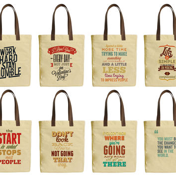 Inspirational Quotes Beige Print Canvas Tote Bag Leather Handles WAS_30