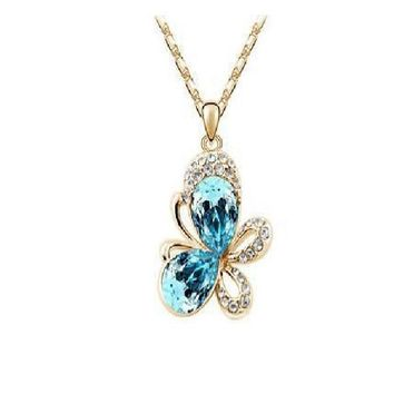 Crystal Animal Butterfly Pendants Necklaces
